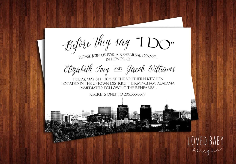 Wedding Invites Birmingham: Birmingham Alabama Skyline Invitation Steel City Skyline