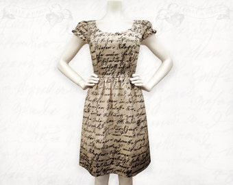 Writing Dress~ Tea-stained screen printed cotton