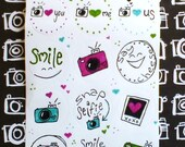 Camera Happy Stickers- pink, lime & aqua