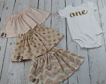1st Girl Birthday Outfit 1st Birthday Baby Girls Outfit Gold Glitter Shirt Pink Gold Birthday Skirt Girls Second 2nd Birthday Bodysuit