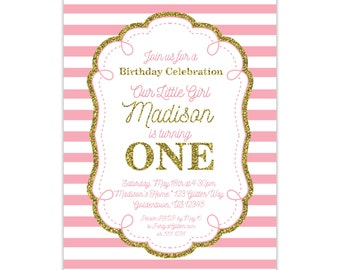 Pink and Gold Invitation - Pink Stripes, First Birthday Party, Girl Gold Glitter Personalized Birthday Party Invite - Digital Printable File