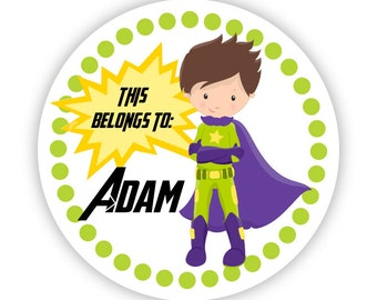Personalized Name Label Stickers - Lime Green Polka Dots, Green Purple Super Hero, Superhero Name Tag Stickers - Back to School Name Labels