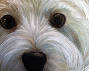 PRINT White Westie West Highland Terrier Dog Puppy Art Print Oil Painting / Mary Sparrow