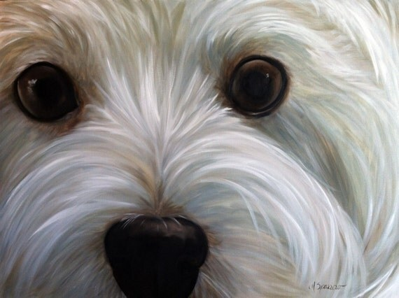 Print white westie west highland terrier dog puppy art print for Westie coloring pages