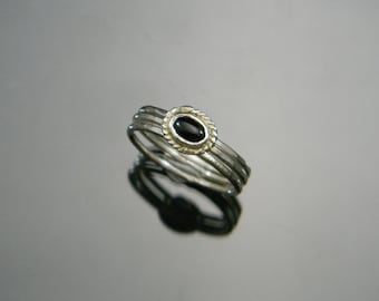 Onyx Ring, Silver Rings, Stacking Rings, Stackable Rings, Onyx Jewelry, Black Ring, Custom Sized Rings, Made to Order