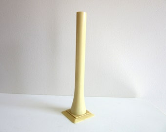 Art Deco Hat Pin Holder or Bud Vase Antique French Ivory Celluloid  6.5 Inches