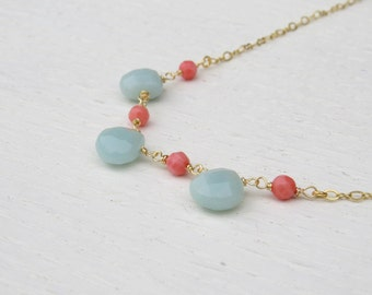 Coral and mint necklace, Amazonite necklace