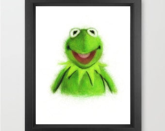 Kermit the Frog INSTANT DOWNLOAD, Muppets, nursery art, childrens room, theater art, cute decor - Digital Print