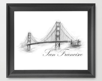 Golden Gate Bridge, San Francisco, California INSTANT DOWNLOAD, modern, places to see, decor, modern - Travel Art