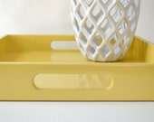 Golden Yellow Lacquered Serving Tray, 16 x 16 Ottoman Tray, Wood Coffee Table Tray