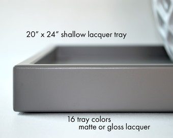 20 x 24 Low Profile Large Ottoman Tray, Coffee Table Trays, Sofa Table, Coffee Table Decor, Large Serving Trays, Lacquer Tray