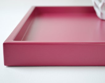 Raspberry Pink Shallow Decorative Tray, 14 x 18 Lacquered Wood Serving Tray, Coffee Table Tray