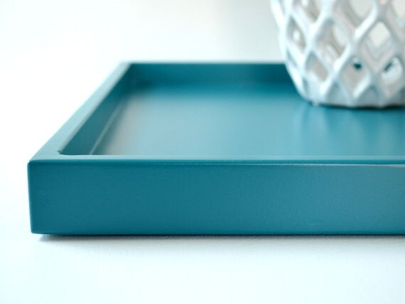 Teal shallow decorative tray 14 x 18 lacquered wood serving for Shallow coffee table