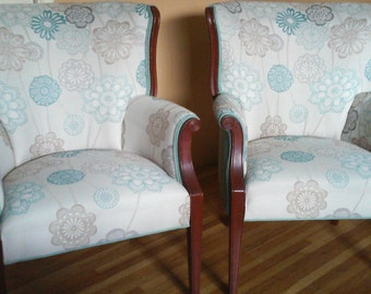 Vintage Pair of Bergere Chairs in Designer Fabrics