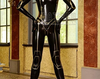 Mass Effect Costume Latex Catsuit, Rubber Cosplay