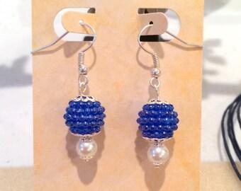 Blue Berry Bead Earrings