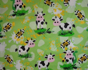 Green Cow Flannel Fabric by the Yard