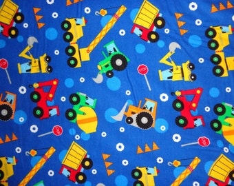 Blue Truck/Dozer/Tractor Boy Flannel Fabric by the Yard