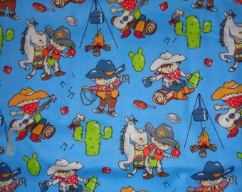 Blue Cowboy/Rodeo/Roundup Flannel Fabric by the Yard