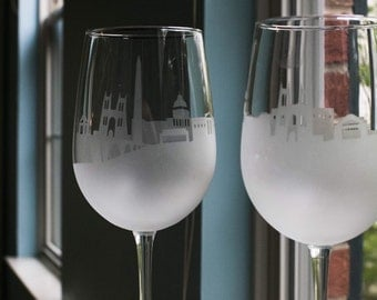 Etched Washington DC Skyline Silhouette Wine Glasses or Stemless Wine Glasses