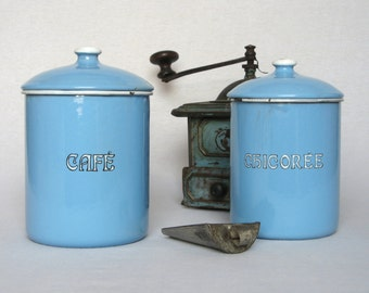 Pair of Vintage French Enamelware Canisters, for those who like their hot drinks...