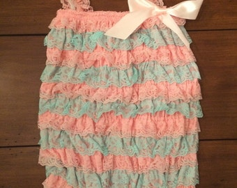 blue and pink lace pettiromper