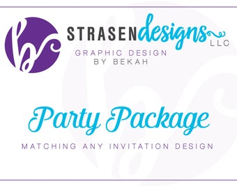 Custom Party Package - Choose any 4 - Banner, Labels, Cupcake Topper, Favor Box, Tags