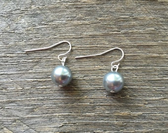 Pewter Pearl Earrings Bridal Earrings Single Pearl on Silver or Gold French Wire Hook