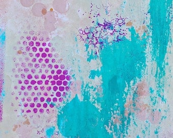 Abstract Painting. Acrylic Painting. Mixed Media Original Painting. Teal Turquoise Fuchia Pink Abstract Print.