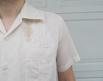 1970s mens Mexican shirt, cream shirt, loose, breezy shirt, size 42
