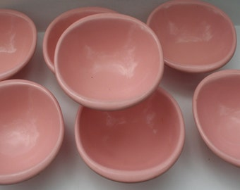 "Pretty in PINK! 1950s Melamine Mid-century Super Clean Set of Seven 6"" Bowls 1307-12!  Made in USA!  Xtra RARE / Hard to Find!"