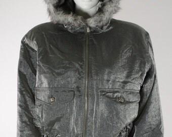 ON SALE BOMBER Jacket: Hooded Bomber Jacket / Puffy Jacket / Metallic Jacket / 90s Hooded Jacket / Fur Trimmed Hood / Faux Fur / 80s Silver