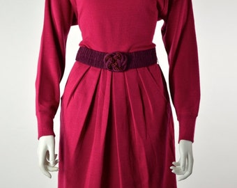 ON SALE Pleated WOOL Dress: Magenta Dress // 80s Wool Dress // Avant Garde Dress // Sweater Dress // Liz Claiborne