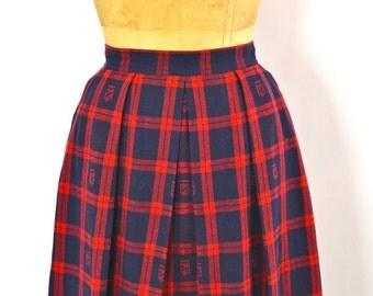 ON SALE PREPPY Plaid Skirt: Tartan Plaid Skirt // Plaid Midi Skirt // Midi Wool Skirt // Plaid Skirt // Preppy Punk // Chaus // Equestrian