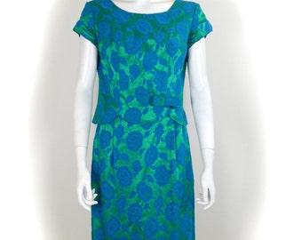 ON SALE 1950s Brocade Sheath Dress: 50s Wiggle Dress / Classic 50s Sheath Dress / 1950s Brocade / Vintage 1950s / VTG brocade dress / Brocad