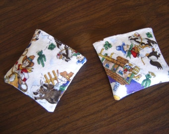 Cartoon Cowboys Flannel Hand Warmer Corn Cozies