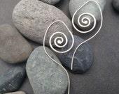 Sterling silver spiral earrings, long wavy undualting ornamental sterling silver ear wire