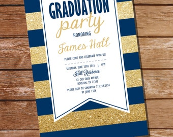 Navy Blue and Gold Graduation Invitation - Gold Graduation Invitation - Instant Download & Edit at home with Adobe Reader - Print at Home!