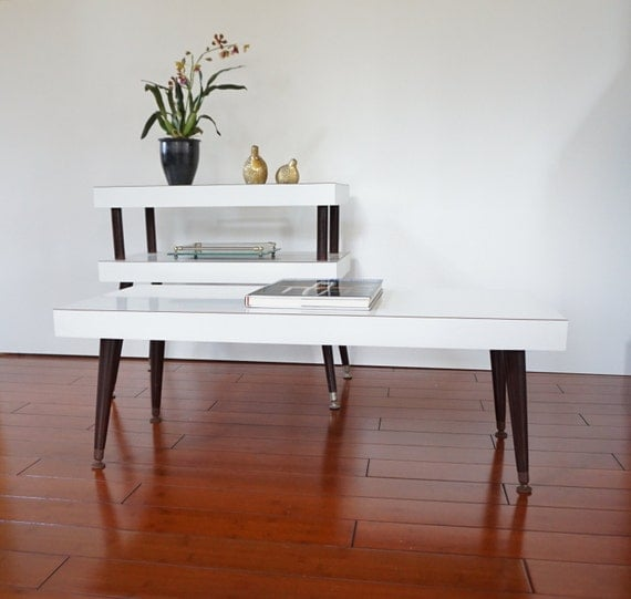 Mid Century Coffee Table And End Tables: Mid Century Coffee Table And End Table White By LUCKYHOMEFINDS