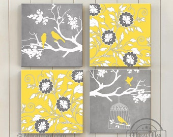 Tree and Birds on Branch Floral Yellow and Gray Canvas Art -  Living Room Home Decor Baby Nursery Room Decor -  set of four  Canvas Art