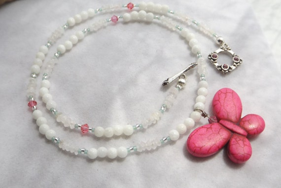 Pink Howlite Butterfly Pendant Necklace with Swarovski Toggle, Swarovski Crystals, Quartz and Silver Plated Beads for Spring, Summer, Easter