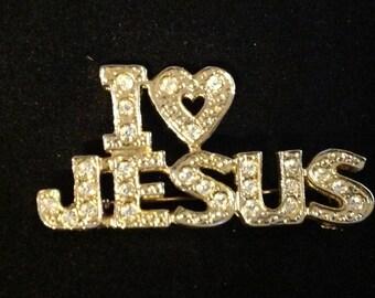Vintage I LOVE JESUS Brooch
