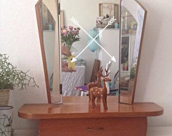 Retro 50s Mirror- mid century modern- mid century furniture- furniture trends- vintage home interior- mirror with one drawer- wooden mirror