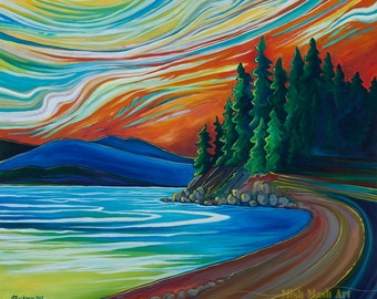 Landscape painting, original art, artwork, original paintings, lake, canadian landscape, canadian artist, blue, trees