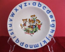 Wood and Sons Child's Alphabet Plate, English Ironstone, 1950s Blue Alphabet, Animals Repairing Car in Center,