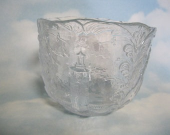 """Kosta Boda Crystal """"Sweden"""" Bowl by Kjell Engman with Traditional Scenes and Kurbits"""