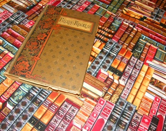 Tablecloth Books Library - Stacks of vintage American Classics printed on this great cotton cloth - Gone with the Wind, Exodus, Little Women