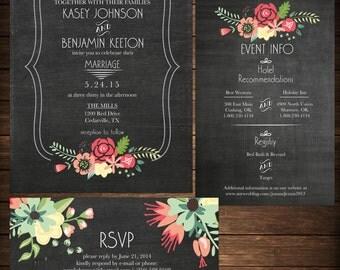 Wedding Invitation - DIY Printable Chalkboard Floral