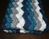 Chevron Waves Crochet Baby Blanket, Toddler Blanket, Baby Shower Gift, Nursery Decor, Teal Grey White Blue  Photo Prop