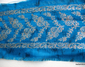 Turquoise and Silver Indian Sari Zari Brocade Trim / Border by yard